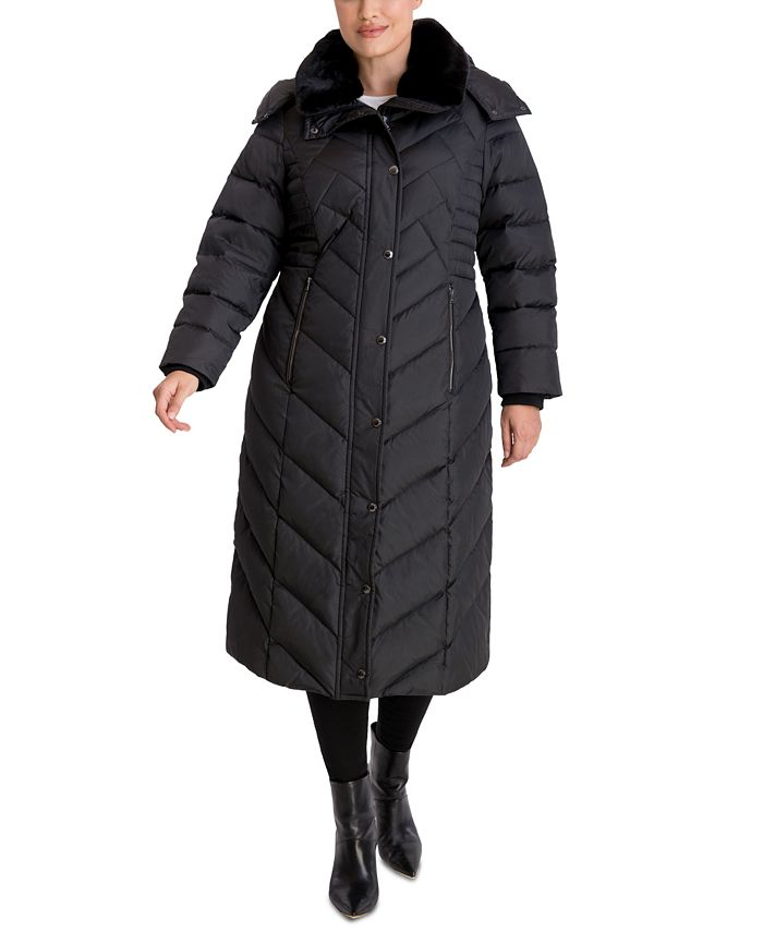 London Fog - Plus Size Maxi Faux-Fur-Trim Hooded Puffer Coat