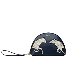 Ascot Horse Half Moon Medium Ziptop Wristlet