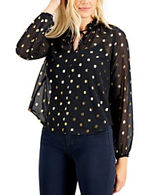 Metallic-Dot Sheer Top