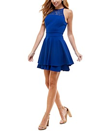 Juniors' Lace Tiered A-Line Dress