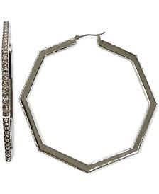 INC Silver-Tone Pavé Octagon Hoop Earrings, Created for Macy's