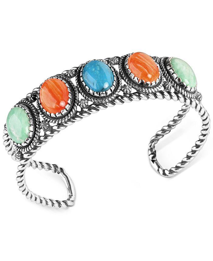 American West - Multi-Stone Rope Cuff Bracelet in Sterling Silver