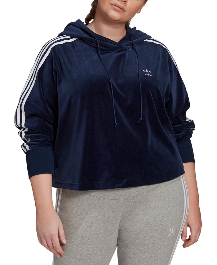 adidas - Plus Size Velour Cropped Hoodie