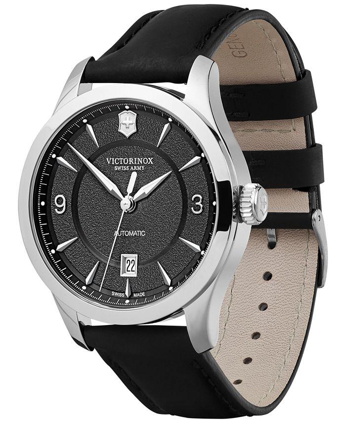 Victorinox Swiss Army - Mechanical Alliance Black Leather Strap Watch 40mm