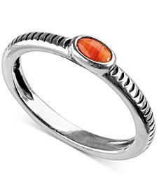 Orange Spiny Stack Ring in Sterling Silver