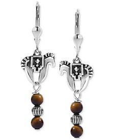 Tiger Eye Horse Drop Earrings in Sterling Silver