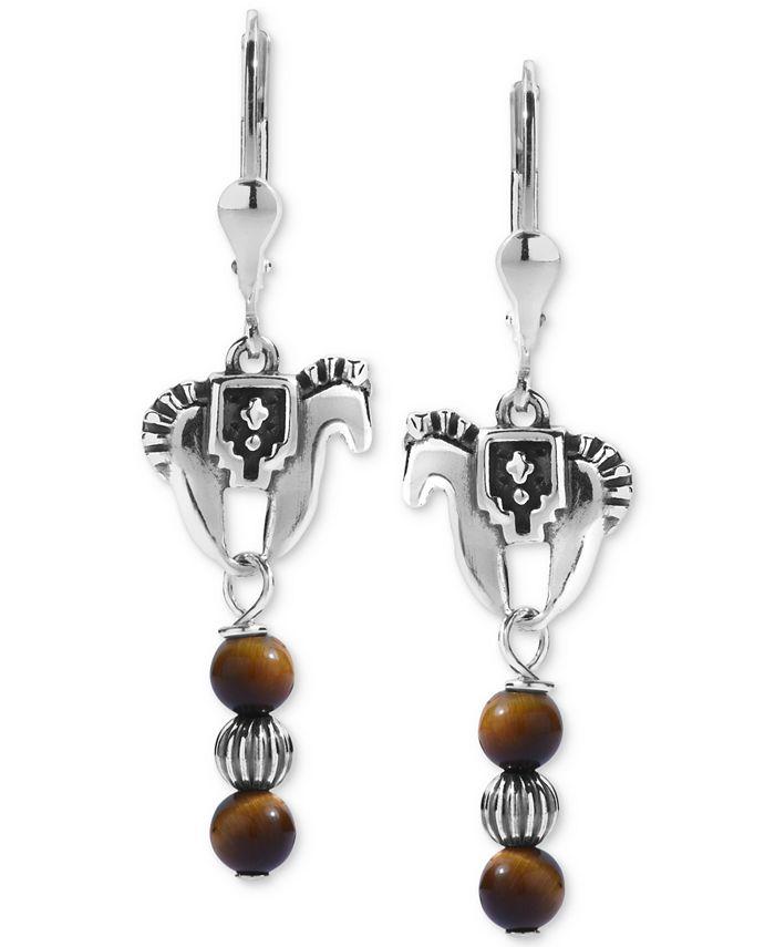 American West - Tiger Eye Horse Drop Earrings in Sterling Silver