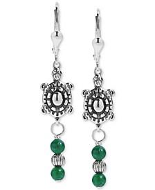 Green Aventurine Turtle Drop Earrings in Sterling Silver