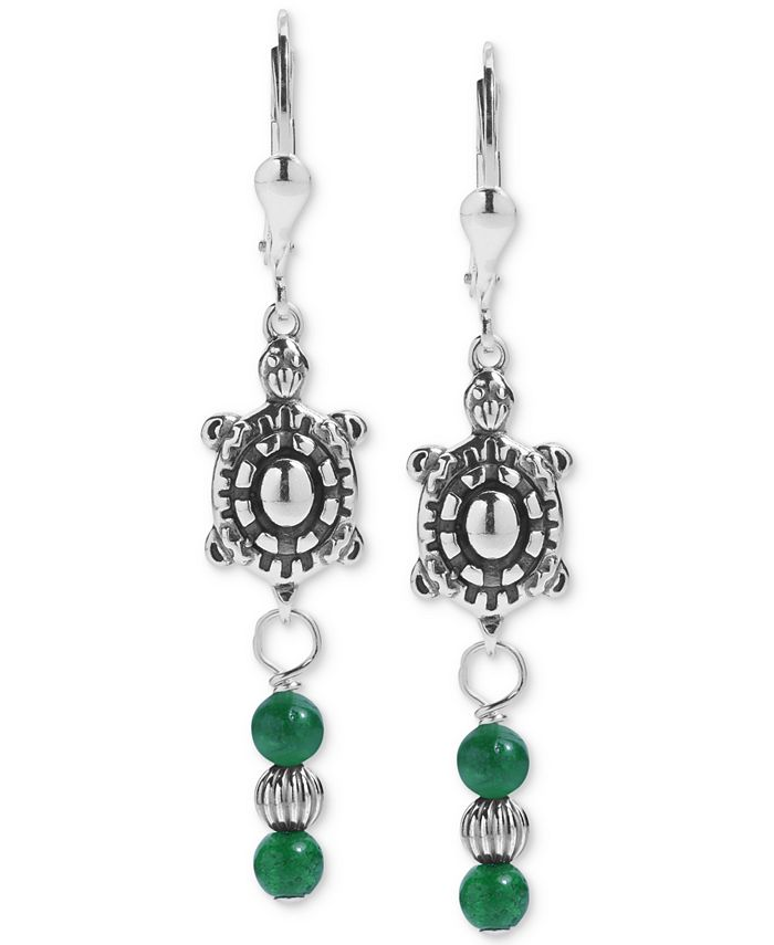 American West - Green Aventurine Turtle Drop Earrings in Sterling Silver