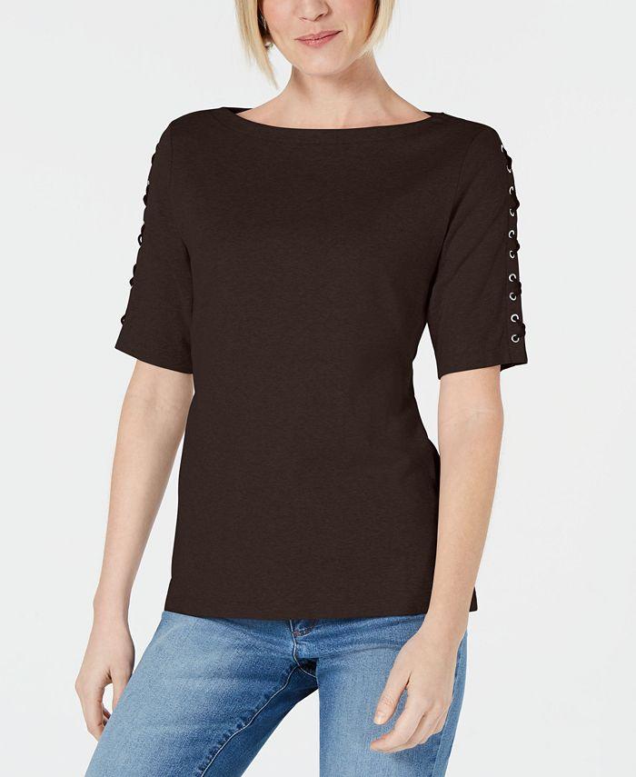 Karen Scott - Plus Size Lace-Sleeve Cotton Top