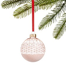 Shimmer & Light, Pink & White Glitter Decal Ornament, Created for Macy's