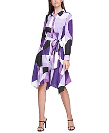 Plus Size Printed Handkerchief-Hem Shirtdress