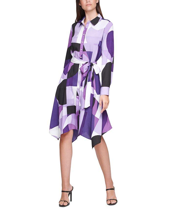 Calvin Klein - Plus Size Printed Handkerchief-Hem Shirtdress
