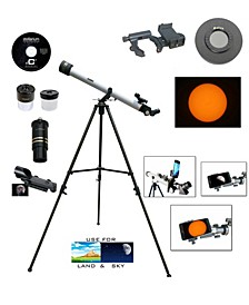 800mm x 60mm Day and Night Telescope Kit Plus Smartphone Adapter and Solar Filter Cap