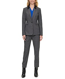 Petite Check-Print Blazer & Skinny Belted Pants