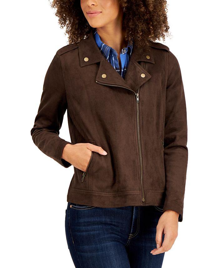 Style & Co - Faux Suede Moto Jacket