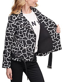 Animal-Print Moto Jacket