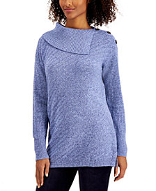 Style & Co Ribbed Button-Detail Tunic Sweater, in Regular & Petite, Created for Macy's