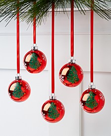 Christmas Cheer Red Glass Ornaments, Set of 5, Created for Macy's