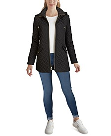 Faux-Leather Trim Quilted Coat, Created for Macy's