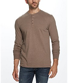 Men's Long Sleeve Brushed Jersey Henley T-shirt