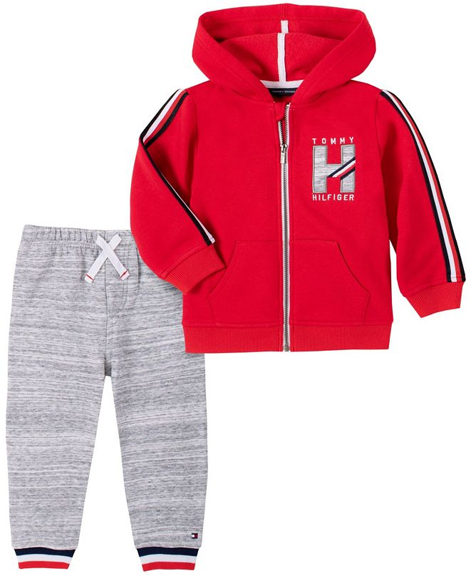 Tommy Hilfiger Baby Boys Zip Front Fleece Hoodie Pant Set