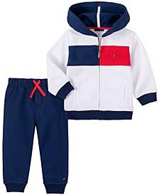 Baby Boys Zip Front Fleece Hoodie Pant Set