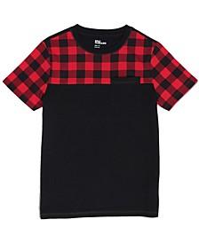 Big Boys Short Sleeve Crew Neck Buffalo Block T-Shirt