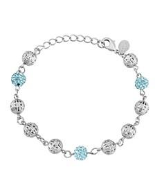 Silver-Tone Aqua Fireball and Filigree Beaded Bracelet