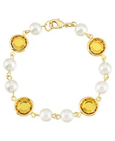 Gold-Tone Imitation Pearl with Yellow Channels Link Bracelet
