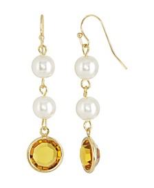 Gold-Tone Imitation Pearl with Yellow Channels Drop Earring