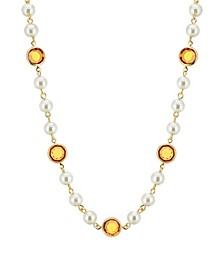 """Gold-Tone Imitation Pearl with Yellow Channels 16"""" Adjustable Necklace"""