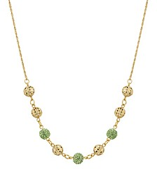"""Gold-Tone Round Balls with Green Fireballs 16"""" Adjustable Necklace"""