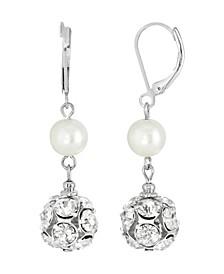 Silver-Tone Imitation Pearl Crystal Fireball Drop Earrings