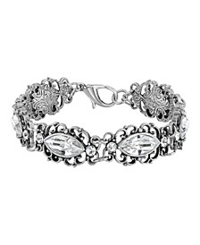 Silver-Tone Diamond Shaped Crystal Link Bracelet