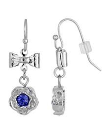 Silver-Tone Blue Flower Bow Drop Earrings