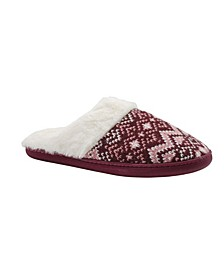 Women's Fair Isle Cozy Knit Comfy Slip On House Slippers
