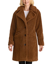 Notch-Collar Teddy Faux-Fur Coat