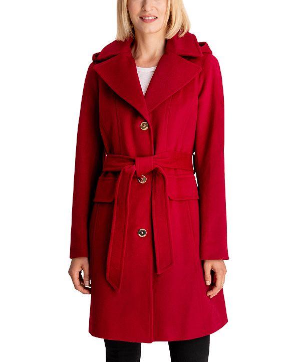 Michael Kors Hooded Belted Walker Coat, Created for Macy's