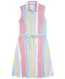 Multi-Striped Button-Front Shirtdress