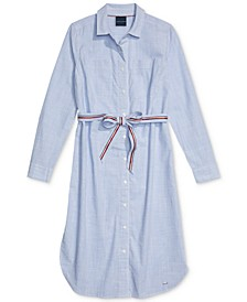 Striped Button-Front Shirtdress