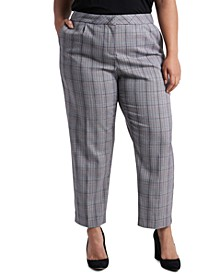 Trendy Plus Size Tapered Plaid Pants
