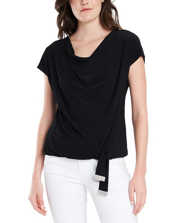 MSK Embellished Tie-Front Blouse