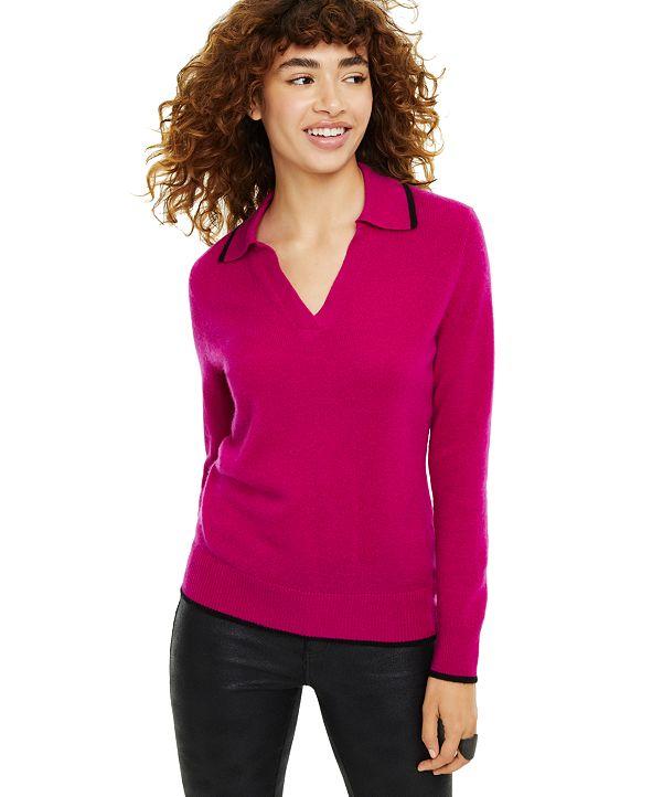 Charter Club Johanna Cashmere Polo Sweater, Created for Macy's