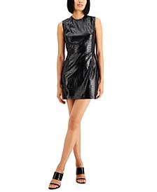 Croc-Embossed Mini Dress