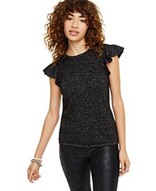 Lurex Cashmere Ruffle Cap-Sleeve Top, Created for Macy's