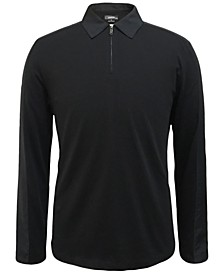 Men's Woven Pieced Long-Sleeve Polo, Created for Macy's