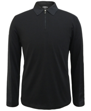 Alfani Men's Woven Pieced Long-Sleeve Polo, Created for Macy's