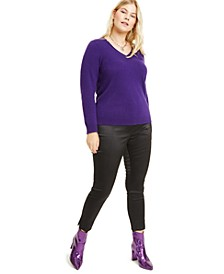 Plus Size Cashmere V-Neck Sweater, Created for Macy's