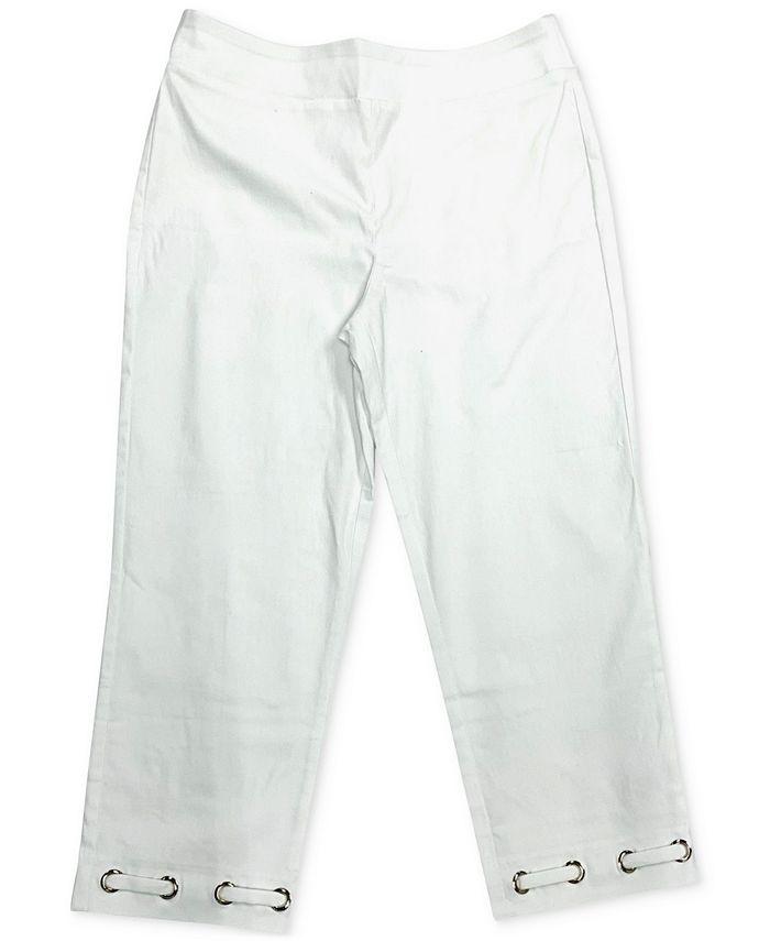 JM Collection - Grommet-Trimmed Tummy-Control Capri Pants